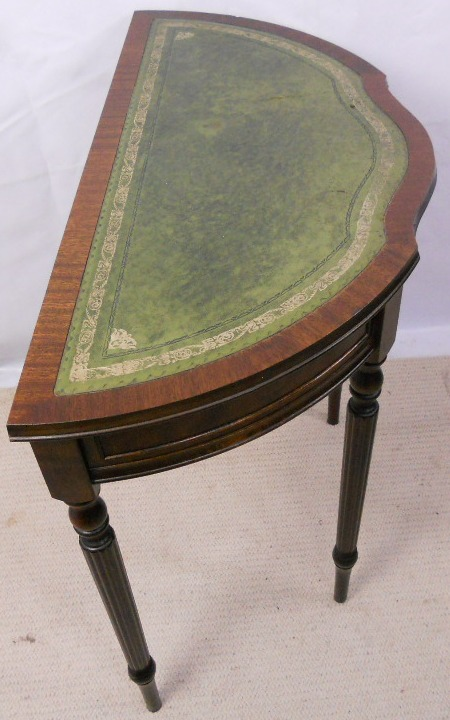 Leather Top Small Half Round Console Table   SOLD